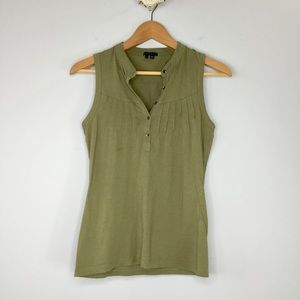 Theory olive pin tucked tank